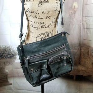 Fossil Leather Smoky Gray/ Black Crossbody Bag